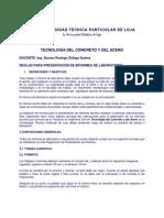 Reglamento Para Elaborar Informe Tecnología Del Concreto