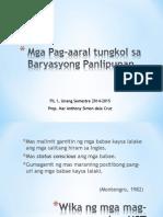 Aralin 2 - Mga Pag-Aaral Tungkol Sa Baryasyong Panlipunan