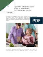Crean Un Algoritmo Informático Que Podría Devolver La Memoria a Pacientes Con Alzheimer o Daño Cerebral