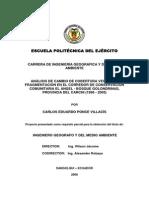 Análisis de Cambio de Cobertura Vegetal y Fragmentación en El Corredor de Conservación Comunitaria El Ángel - Bosque Golondrinas, Provincia Del Carchi (1996 - 2005)