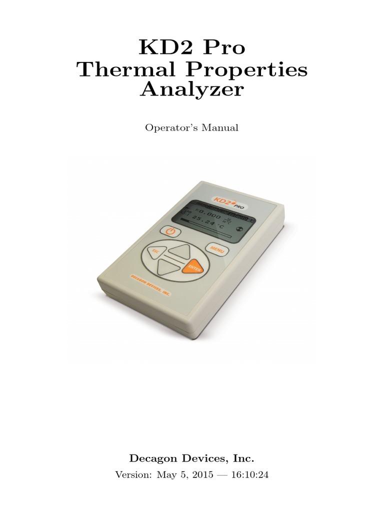KD2 Pro thermal analyser | Menu (Computing) | Electrical Resistance