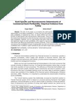 Deger Alper, Adem Anbar. Bank Specific and Macroeconomic Determinants of Commercial Bank Profitability