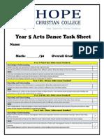year 5 arts dance task