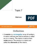 Topic 7 - Matrices