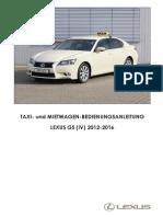 Lexus GS IV 2012-2016 Taxi-Bedienungsanleitung 2015-09-09