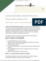 4 Formas de Deshabilitar El Control de Cuentas de Usuario (UAC) en Windows Vist