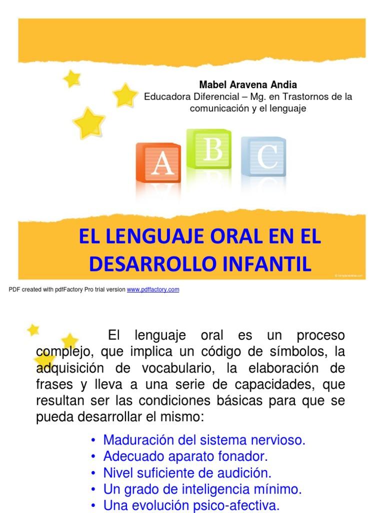 Lenguaje Oral y Desarrollo Infantil
