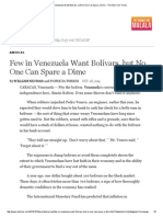 Few in Venezuela Want Bolívars, But No One Can Spare a Dime - The New York Times