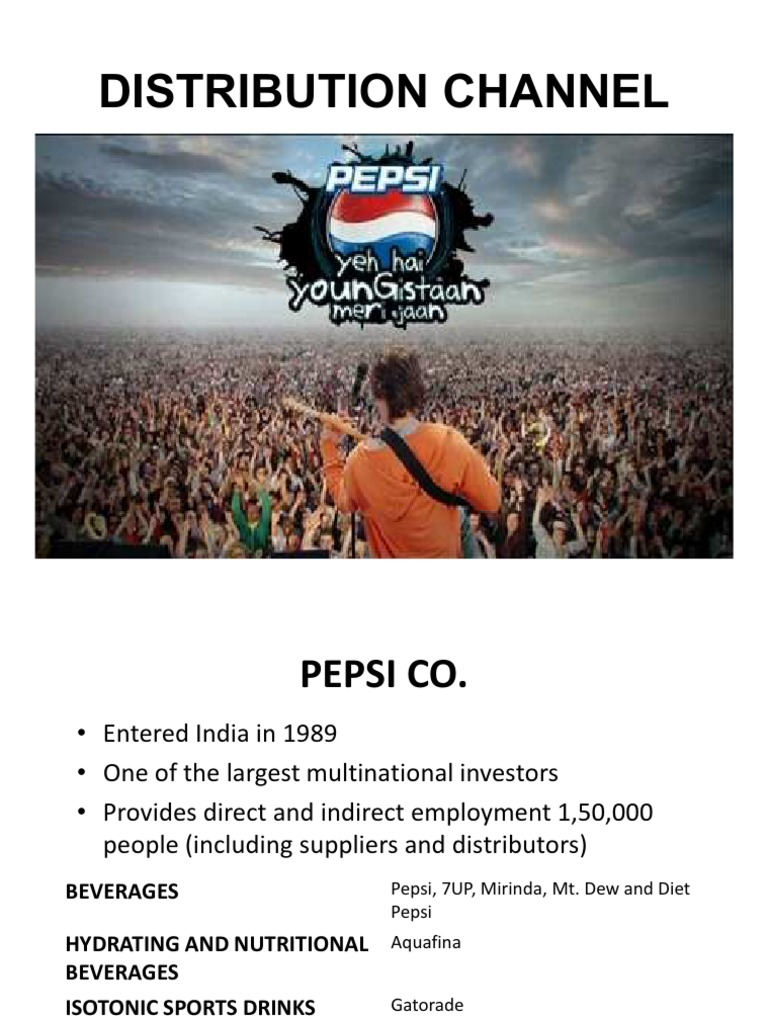 channel distributation of pepsico Purchase, ny, sept 1 /prnewswire/ -- pepsico (nyse: pep) today announced a change of distribution for its gatorade products in the key trade channels of convenience, uds (up and down the.