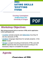 Project Based Learning- Integrating Skills and Specifying Objectives