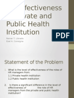 HR Effectiveness in Private and Public Health Institution by Reiner Librado & Ezel Consigna