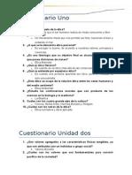 Cuestionario i, II, III, Preguntas de Investigación