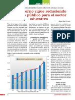 El Gobierno sigue reduciendo el gasto público para el sector educativo
