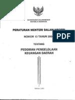 Permendagri Nomor 13 Tahun 2006