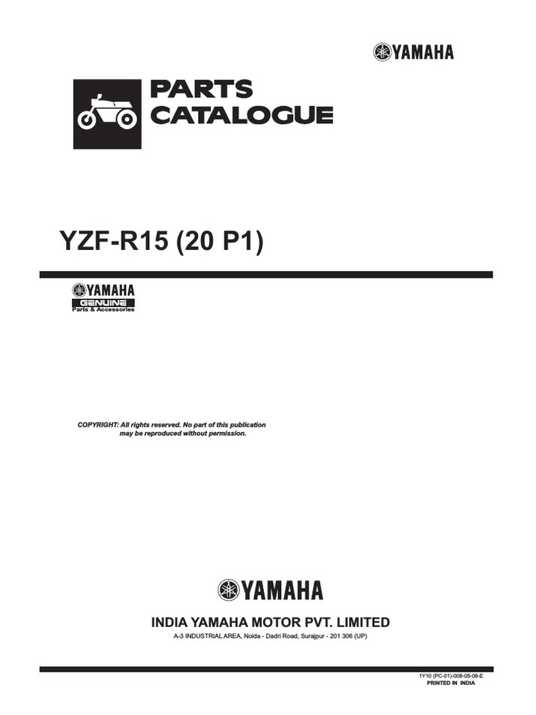 Yamaha Yzf R15 20 P1 Catalogue Screw Clutch