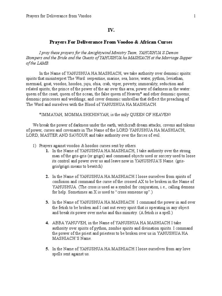 Iv Prayers For Deliverance From Voodooeditedyds Haitian Vodou