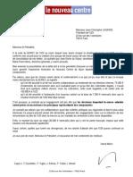 Lettre d'Hervé Morin à Jean-Christophe Lagarde