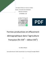 Formes productives et effacement démographique dans l'agriculture française