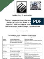 INSTITUCION-ORGANIZACION. COMPARACION