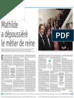 Comment Mathilde a réinventé le métier de reine (La Libre - 15 octobre 2015)