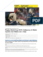 RWC 2015 - BBC Sport Article About Wales Injuries After Italy