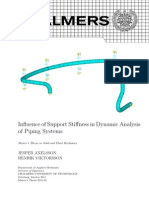 Infuence of Support Stiness in Dynamic Analysis of Piping Systems