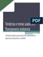 Temáticas e Temas Usados Em Planejamento Ambiental