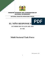 El Nino Response Plan - October, 2015 - January, 2016
