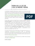 Bolivia Promulga La Ley de Derechos de La Madre Tierra