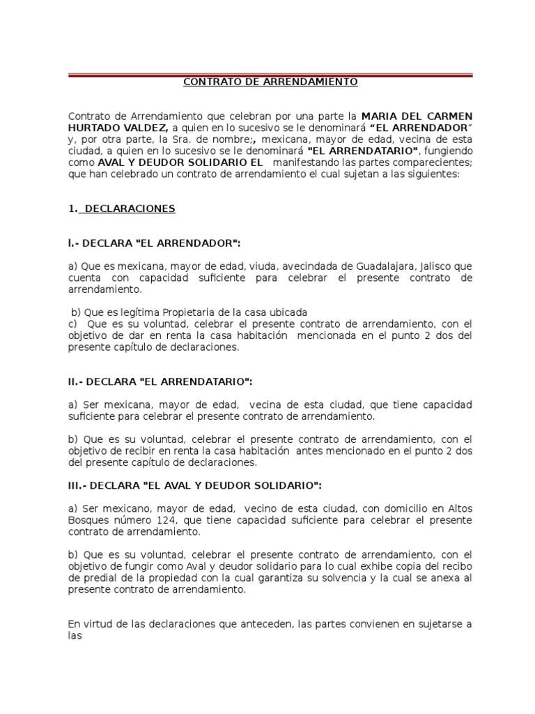 Modelo Contrato De Arrendamiento Mexico Contrato de Arrendamiento ...