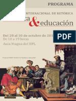 """Programa IV Coloquio Internacional de Retórica """"Retórica y educación"""""""