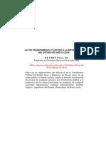Ley de Transparencia de Nuevo León (última reforma - 26 de agosto de 2015)