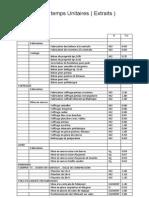 Cahier Des Temps Unitaires ( Extraits )