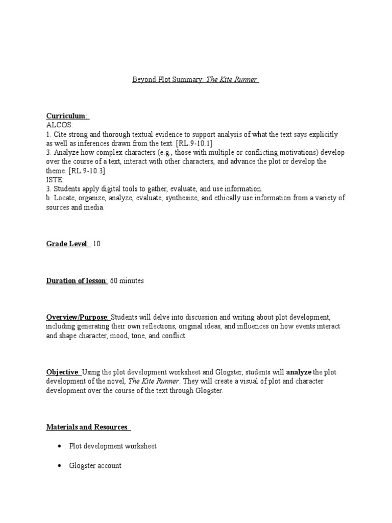 worksheet Plot Development Worksheet intergrated lesson plan plot narrative plan