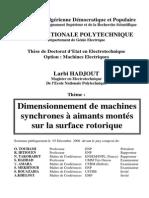 Dimensionnement de Machines Synchrones à Aimants Montés Sur La Surface Rotorique