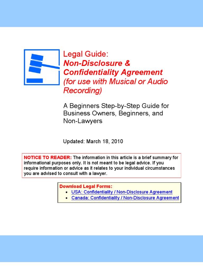 Nda Musical Or Audio Recording Legal Guide Non Disclosure