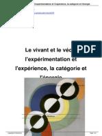 François Laplantine Le Vivant Et Le Vécu, l'Expérimentation Et l'Expérience, La Catégorie Et l'Énergie