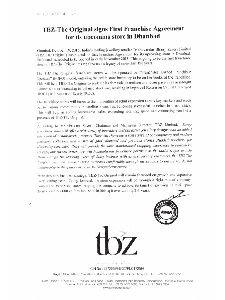 Tbz The Original Signs First Franchise Agreement For Its Upcoming