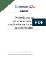 Dispositivos de Anticontaminación Empleados en Los Motores de Automóviles