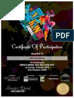 Wild Run 2015 Certificate