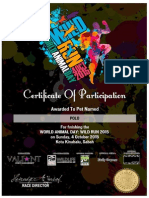 Wild Run 2015 Pet Certificate