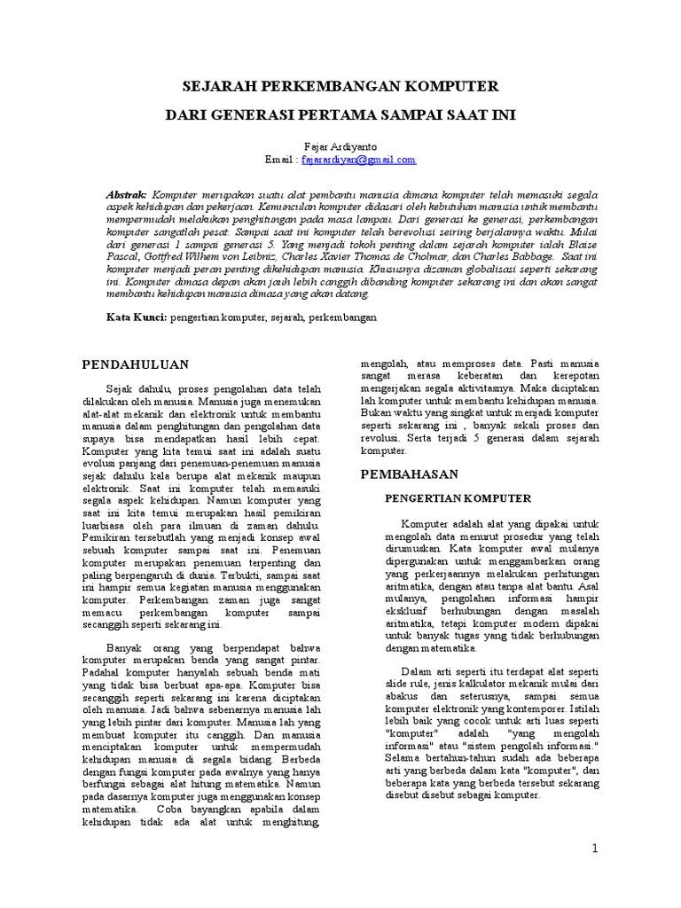 Jurnal Sejarah Perkembangan Komputer