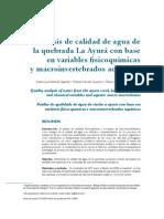 Análisis de la calidad del agua de la quebrada la Ayurá con base en variables fisicoquímicas y macroinvertebrados acuáticos