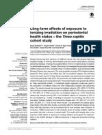Efectos a largo plazo de la exposición a radiación ionizante sobre el estatus de salud periodontal.