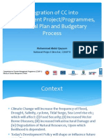 Integration of CC into Development Project/Programmes, National Plan and Budgetary Process