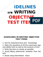 guidelines in writing objective test items