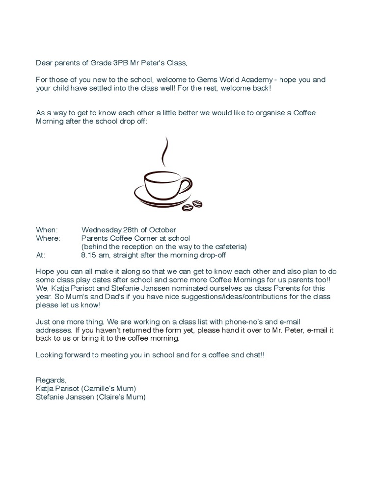 Superieur Coffe Morning Letter