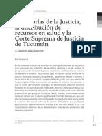 Las Teorías de la Justicia, la distribución de recursos en salud y la Corte Suprema de Justicia de Tucuman