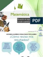 Clase 25 Ecuación de Segundo Grado y Función Cuadrática 2015