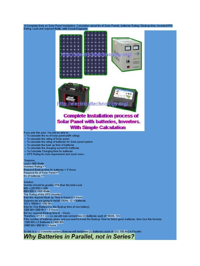 Solar Calculation Series And Parallel Circuits Battery Charger Power Panels Or Cells In